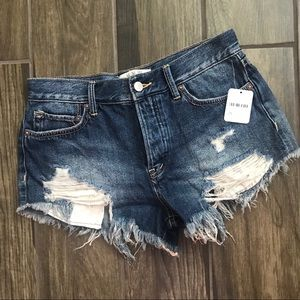 NWT Free People Distressed Button Fly Shorts Sz 25